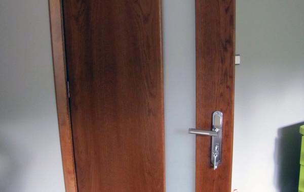 Drzwi dębowe, szyba pion