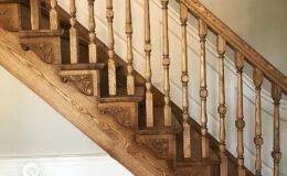 Stairs Q Londyn Jesionowe stylowe , rzezbione Omega tralka (2)