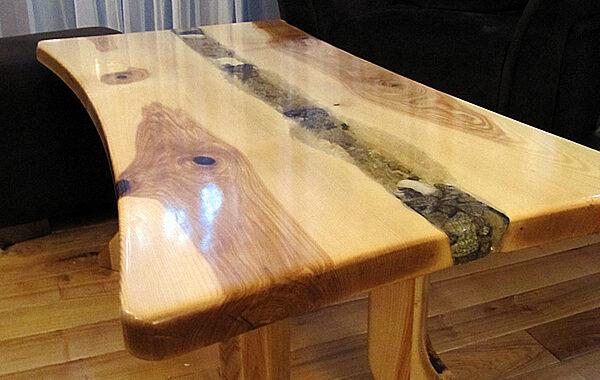 Stolik drewniany – Lawa Q2 – Żywica epkoksyd